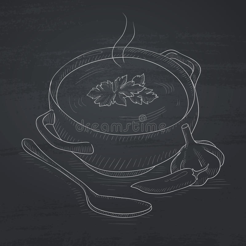 Vaso di minestra calda royalty illustrazione gratis