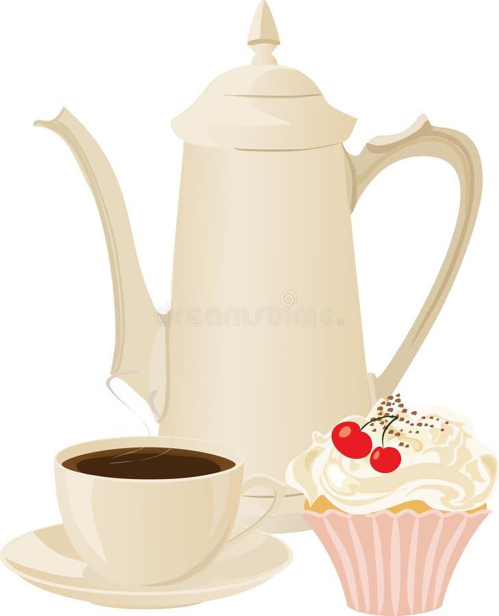 Vaso di offee del ¡ di Ð, tazza di caffè e un dolce illustrazione vettoriale