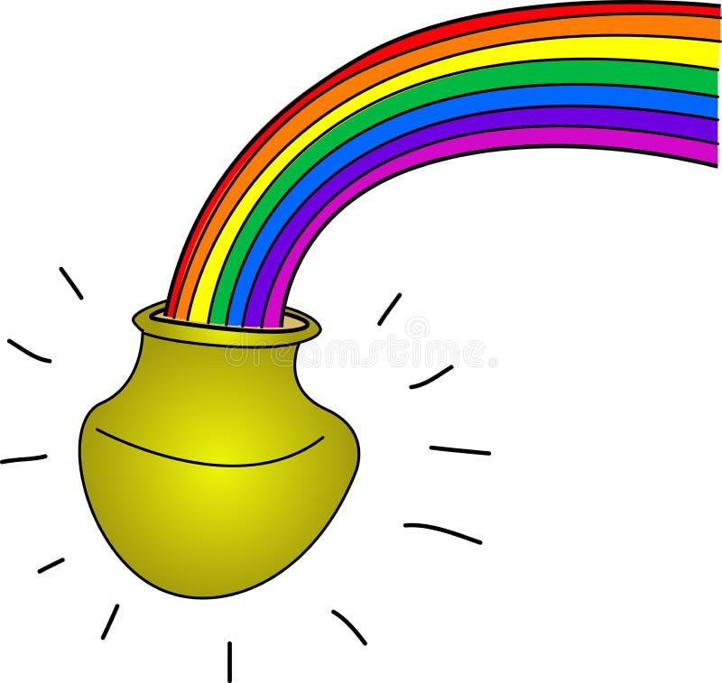 Vaso di oro con l'arcobaleno illustrazione di stock
