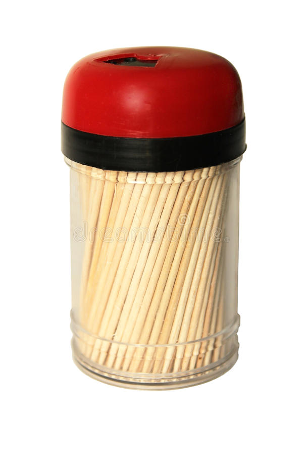 Vaso di plastica con i toothpicks. immagini stock