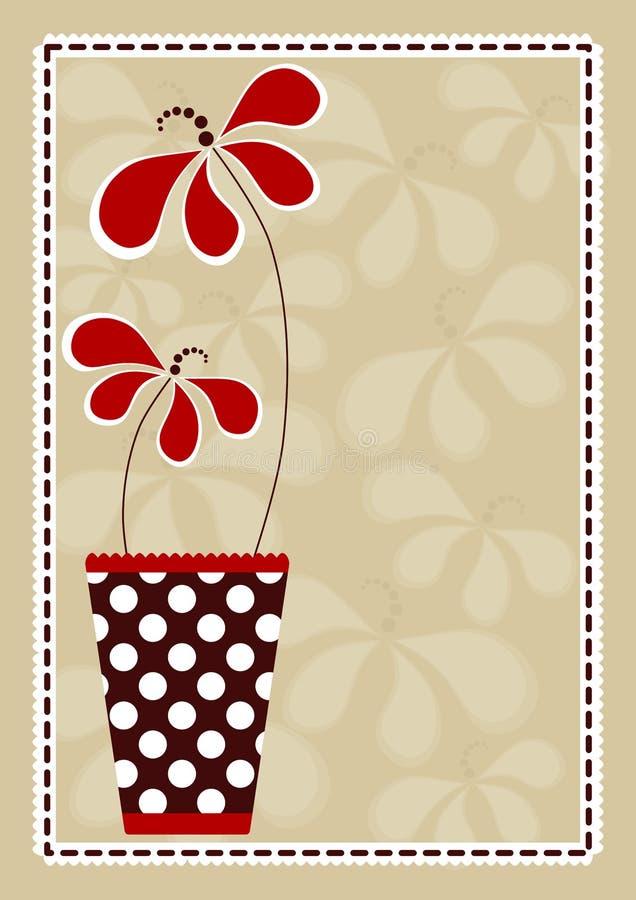 Vaso di Polka con la scheda dell'invito dei fiori illustrazione vettoriale