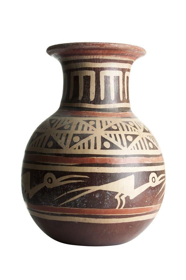 Vaso di terracotta con i reticoli fotografie stock