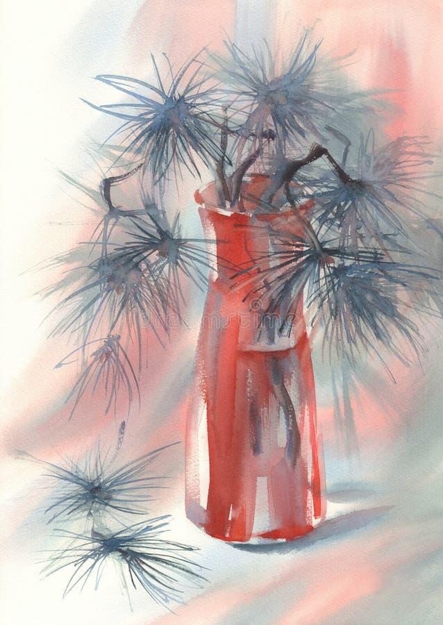 Vaso di vetro dei rami di pino in rosso watercolor royalty illustrazione gratis
