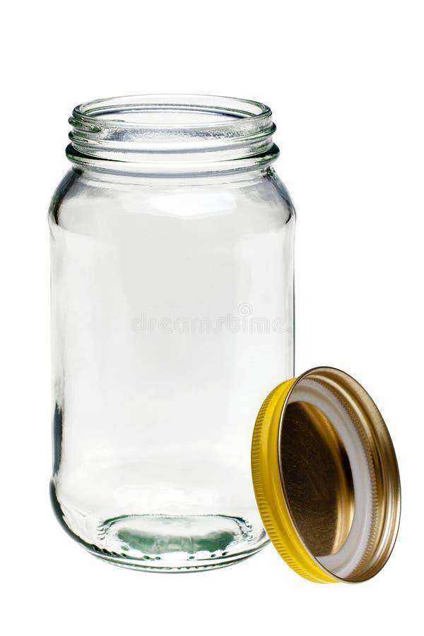 Vaso di vetro e coperchio isolati su bianco immagini stock