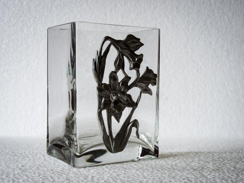 Vaso di vetro rettangolare fotografie stock