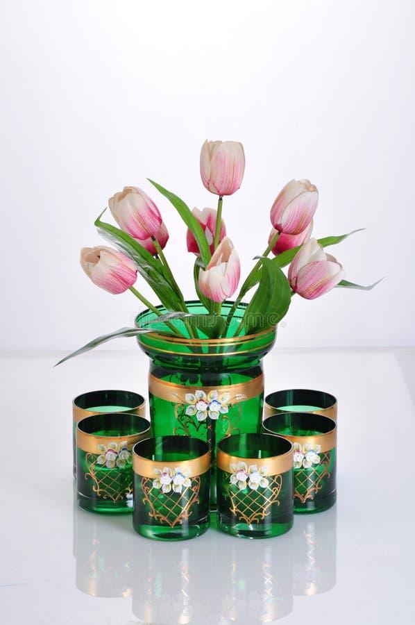 Vaso di vetro verde fotografie stock