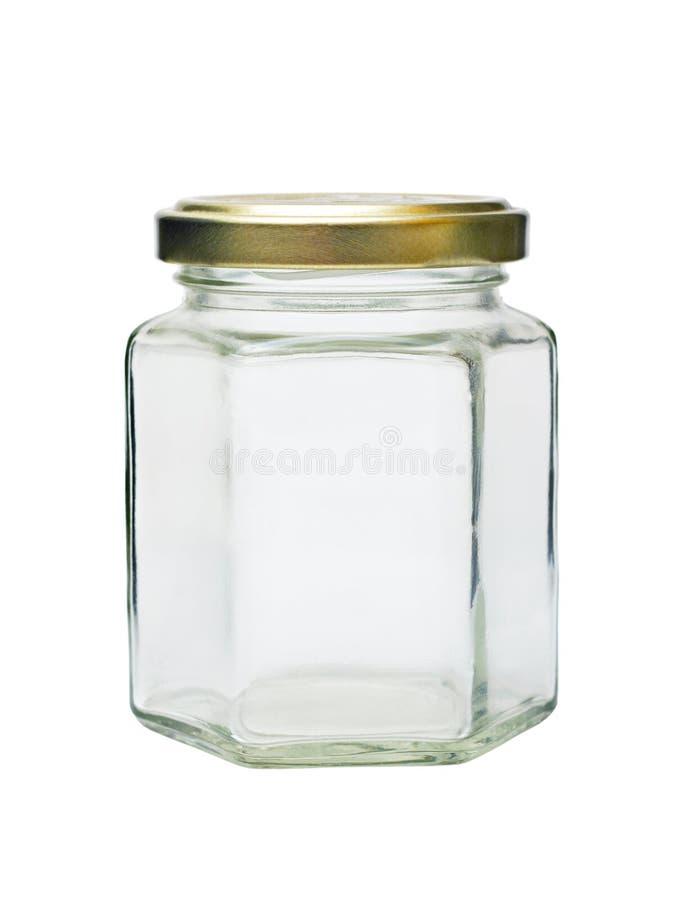 Vaso di vetro vuoto con il coperchio del metallo fotografia stock libera da diritti