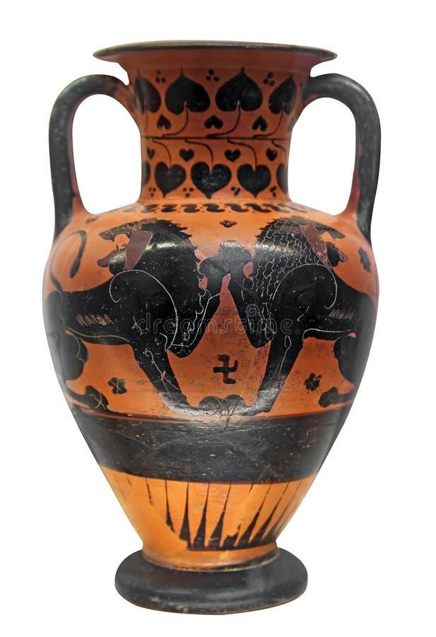 Vaso do grego clássico com dois leões fotografia de stock