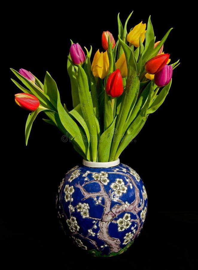 Vaso dos tulips. foto de stock royalty free