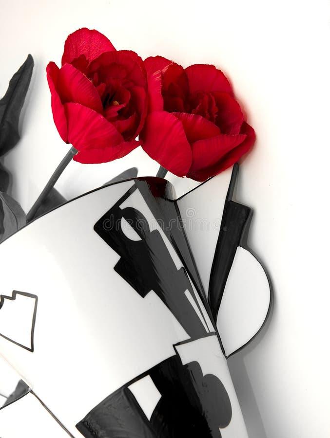 Vaso e flores do art deco foto de stock