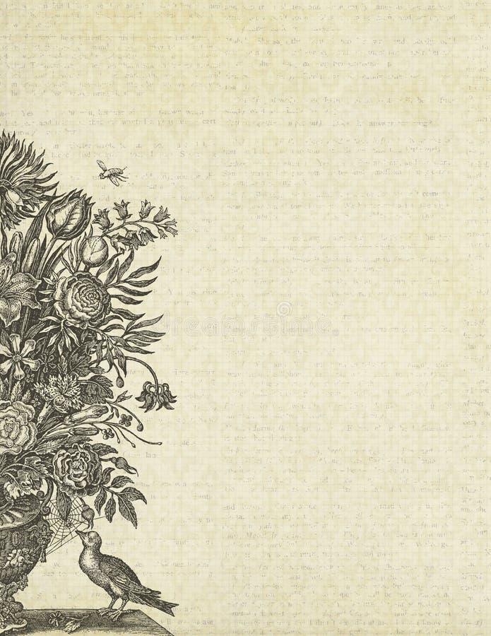 Vaso e pássaro de flor floral do fundo do vintage ilustração stock