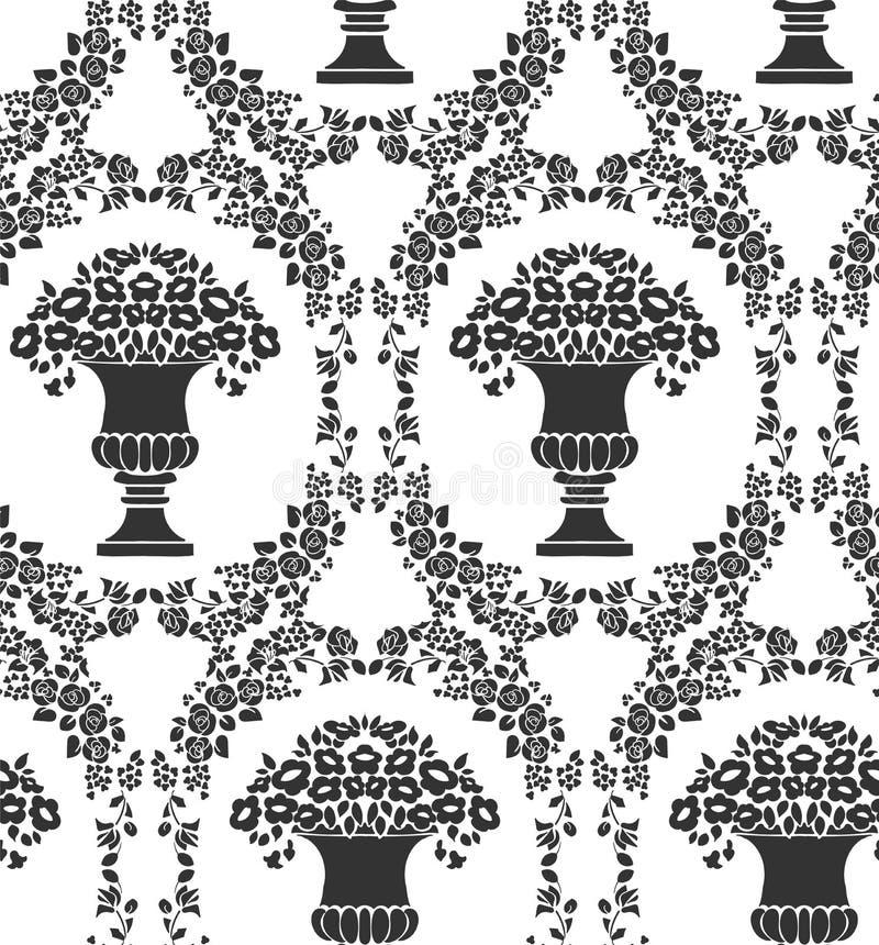 Vaso fiorito del damasco del modello d'annata senza cuciture di vettore illustrazione vettoriale