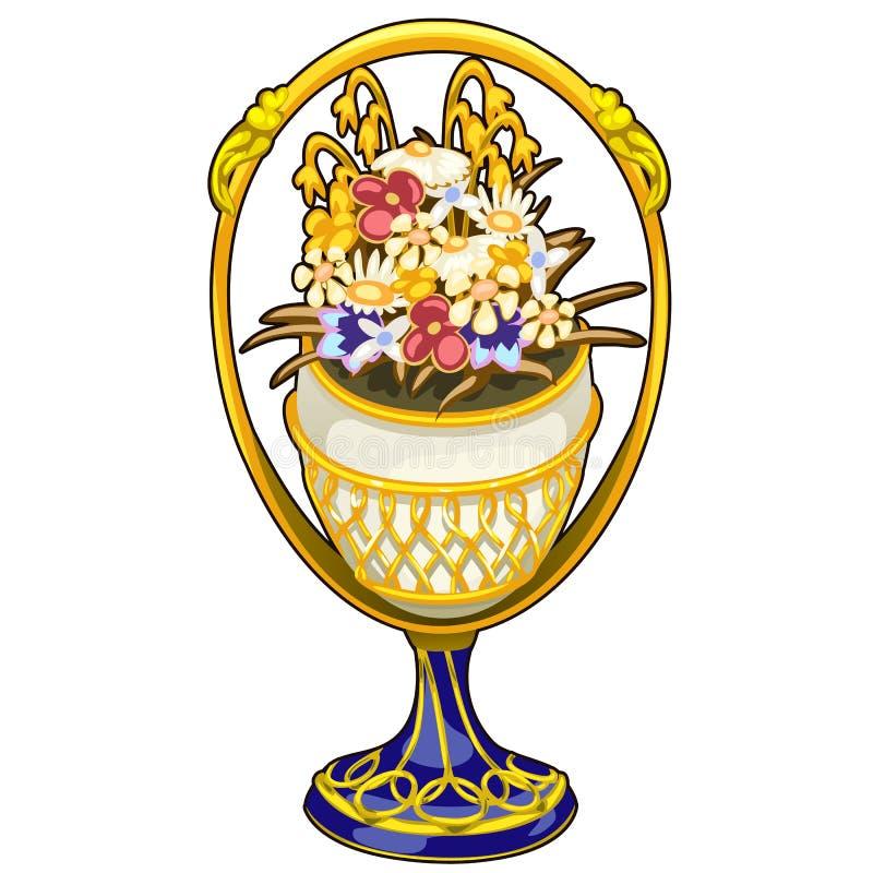Vaso luxuoso dourado com flores preciosas Vetor ilustração do vetor