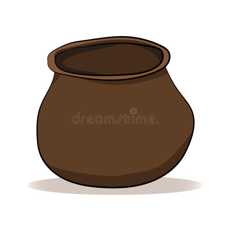 Vaso marrone dell'argilla su un fondo bianco Illustrazione di vettore Illustrazione della mano royalty illustrazione gratis