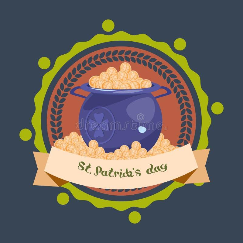 Vaso in pieno del fondo della decorazione di giorno della st Patricks delle monete dorate o della cartolina d'auguri felice illustrazione di stock