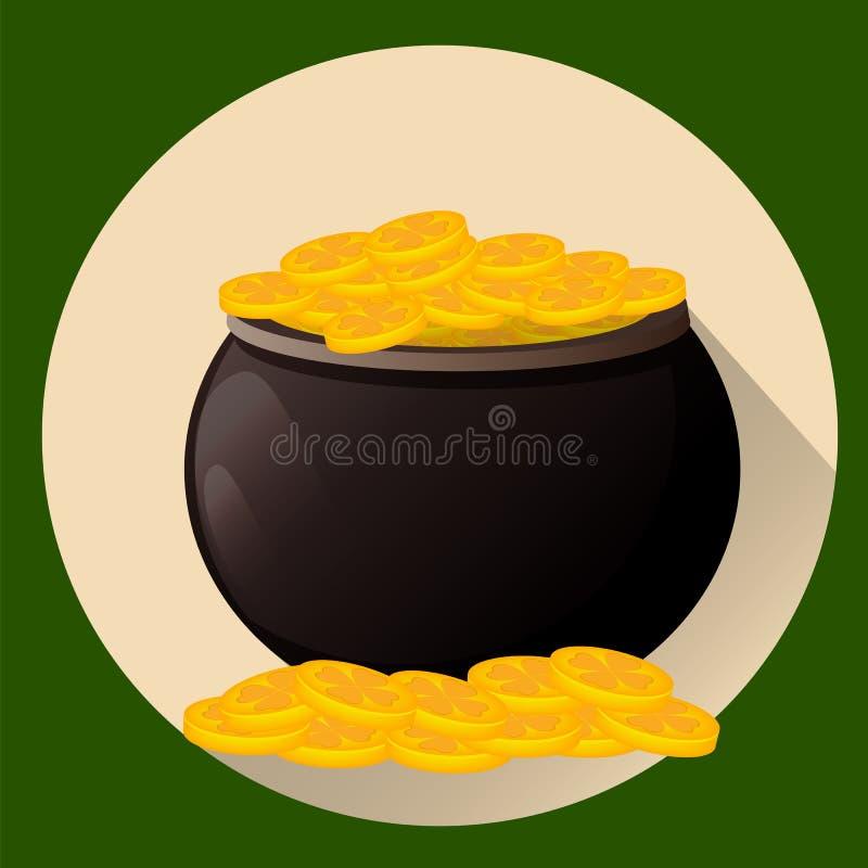 Vaso in pieno delle monete dorate per il giorno del ` s di San Patrizio E Illustrazione di vettore, stile piano royalty illustrazione gratis