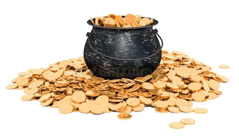 Vaso in pieno delle monete dorate, rappresentazione 3D illustrazione di stock