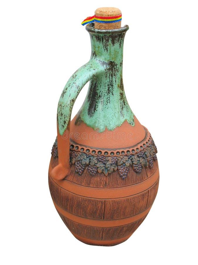 Vaso progettato variopinto dell'argilla isolato sopra bianco immagine stock libera da diritti