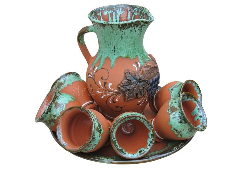 Vaso progettato variopinto dell'argilla isolato sopra bianco fotografia stock libera da diritti