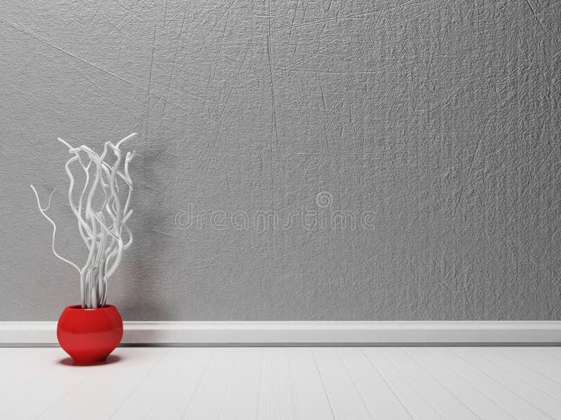 Vaso rosso con i rami, illustrazione di stock