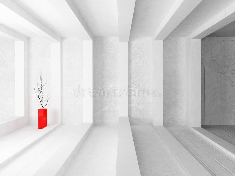 Vaso rosso con i rami illustrazione di stock