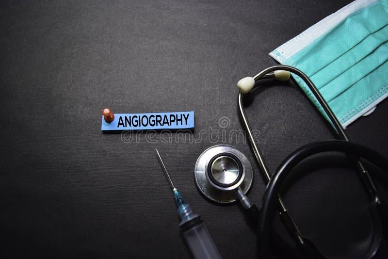 Vasographietext auf klebrigen Anmerkungen Draufsicht lokalisiert auf schwarzem Hintergrund Gesundheitswesen/medizinisches Konzept lizenzfreie stockbilder