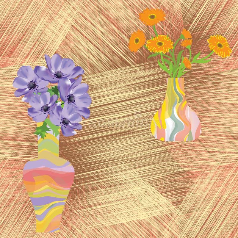 Vasos com as flores em fundo listrado do grunge ilustração royalty free