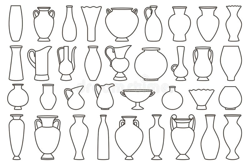 Vasos do esboço e coleção da ânfora, vetor linear ilustração royalty free