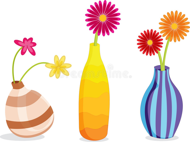 Vasos e flores ilustração do vetor