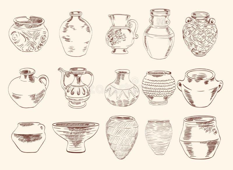Vasos e jarros ilustração stock