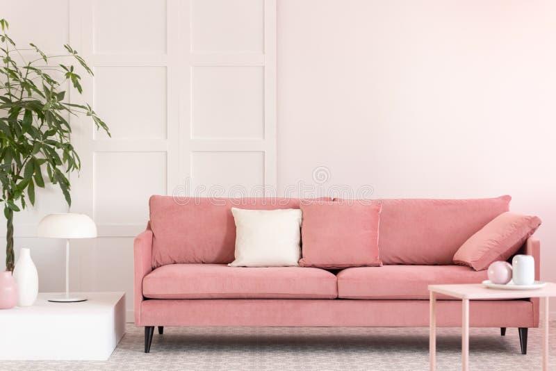 Vasos pasteis e canecas de caf? cor-de-rosa e brancos na tabela pequena na sala de visitas do rosa interior com sof? confort?vel foto de stock