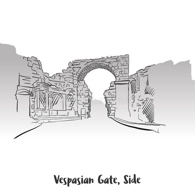 Vaspasian brama, Boczny druku projekt royalty ilustracja