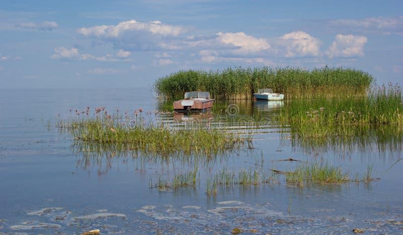 Vassö och fartyg, Peipus (Chudskoe) sjö, Estland royaltyfri bild
