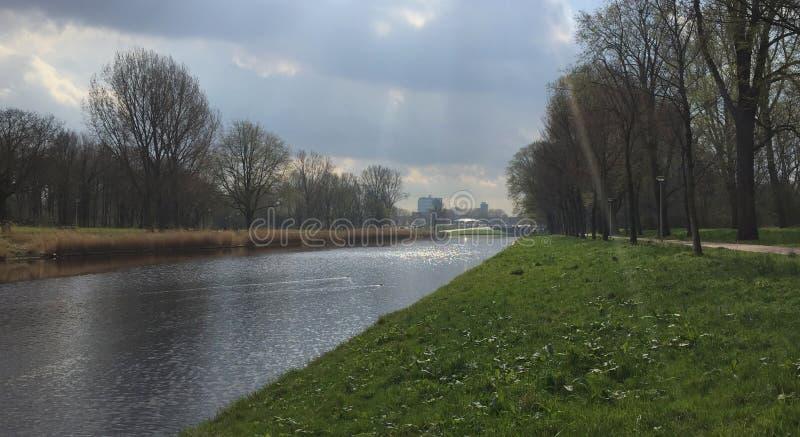 Vass av det holländska polderlandskapet på en molnig dag arkivfoto