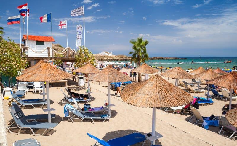 Vassilikos, Zacinto, Grecia Spiaggia in estate fotografia stock libera da diritti