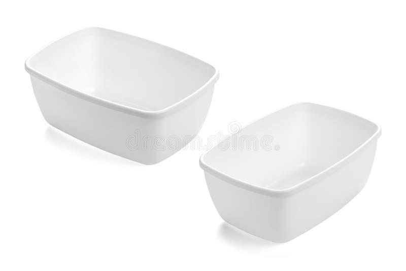 Vassoi di plastica bianchi rettangolari nessuna copertura fotografia stock libera da diritti
