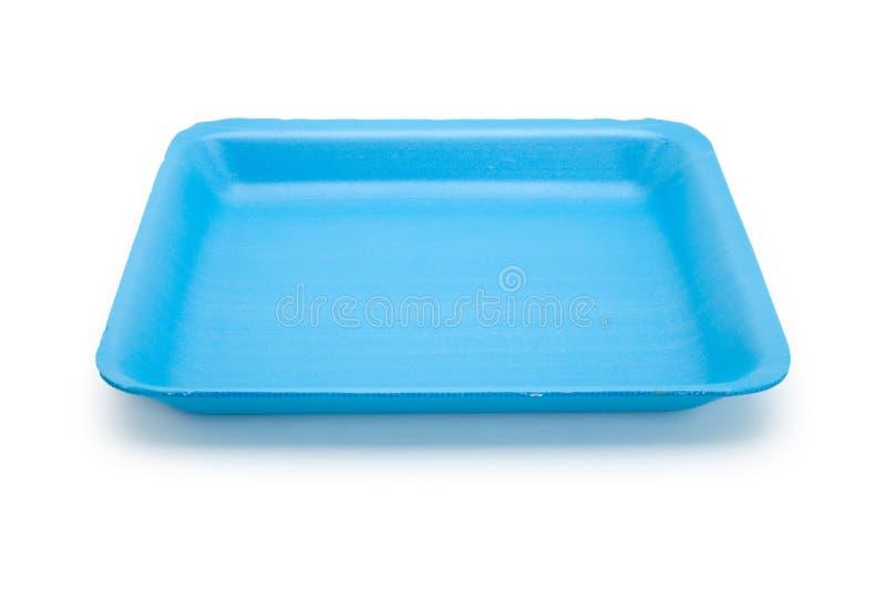 Vassoio blu dell'alimento fotografia stock