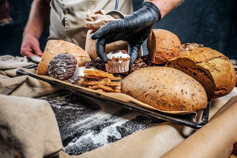 Vassoio con i prodotti appeni preparato dal suo forno fotografia stock