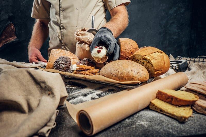 Vassoio con i prodotti appeni preparato dal suo forno fotografie stock