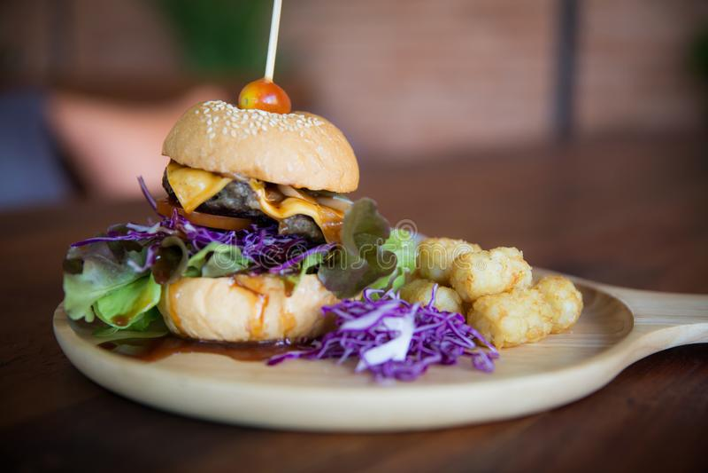 Vassoio del cheeseburger immagine stock