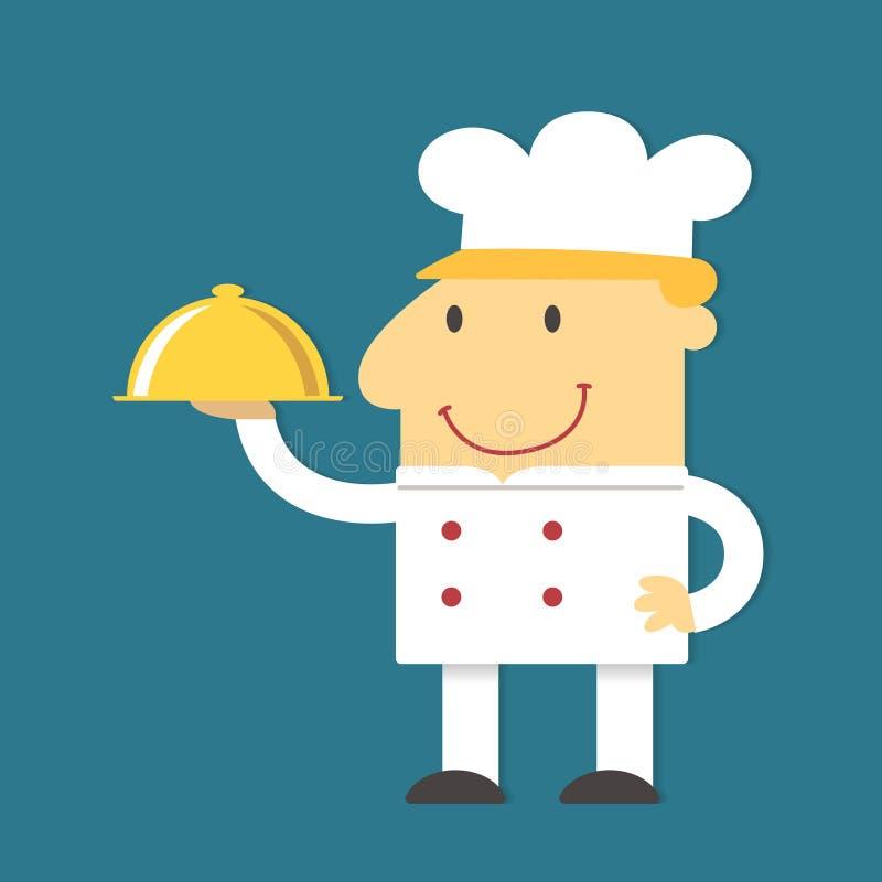 Vassoio dell'oro della tenuta del cuoco unico del fumetto, vettore royalty illustrazione gratis