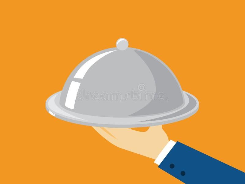 Vassoio della tenuta della mano con il piatto Butler con il vassoio illustrazione vettoriale