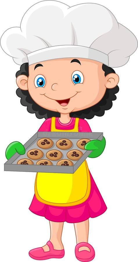 Vassoio di cottura della tenuta della bambina con cuocere pronto da mangiare royalty illustrazione gratis