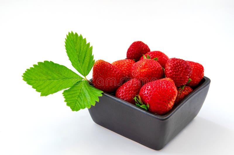 Vassoio di fragole rosse con le foglie verdi su un bianco fotografia stock