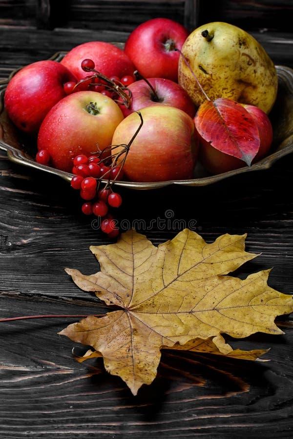 Vassoio di rame con le mele fotografia stock