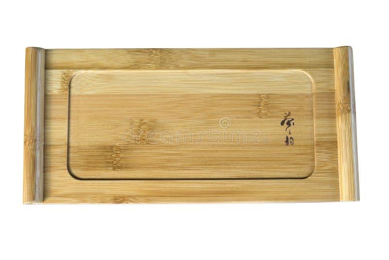 Vassoio di tè di legno isolato fotografia stock libera da diritti