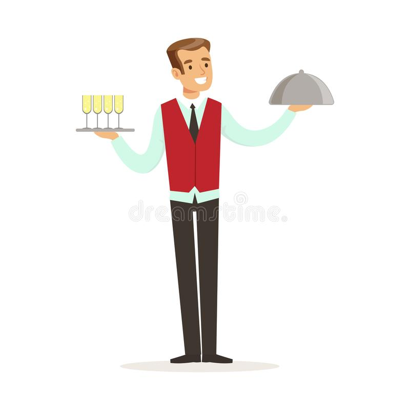 Vassoio maschio sorridente della tenuta del carattere del cameriere con la campana di vetro dell'argento e del champagne, illustr royalty illustrazione gratis