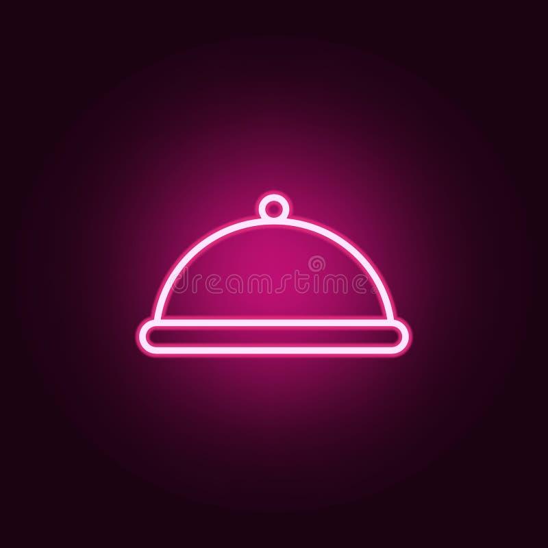 vassoio nell'icona dell'hotel Elementi del web nelle icone al neon di stile E illustrazione vettoriale