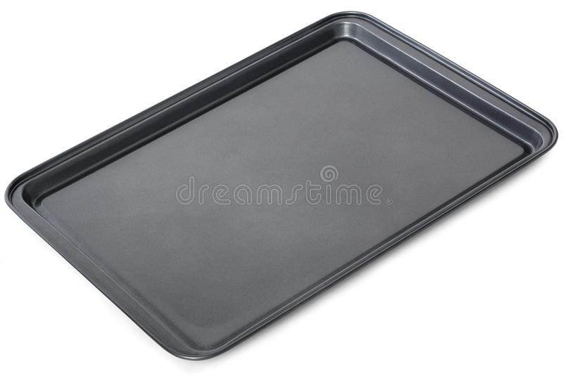 Vassoio nero rettangolare di cottura in forno, isolato sul backgro bianco fotografia stock
