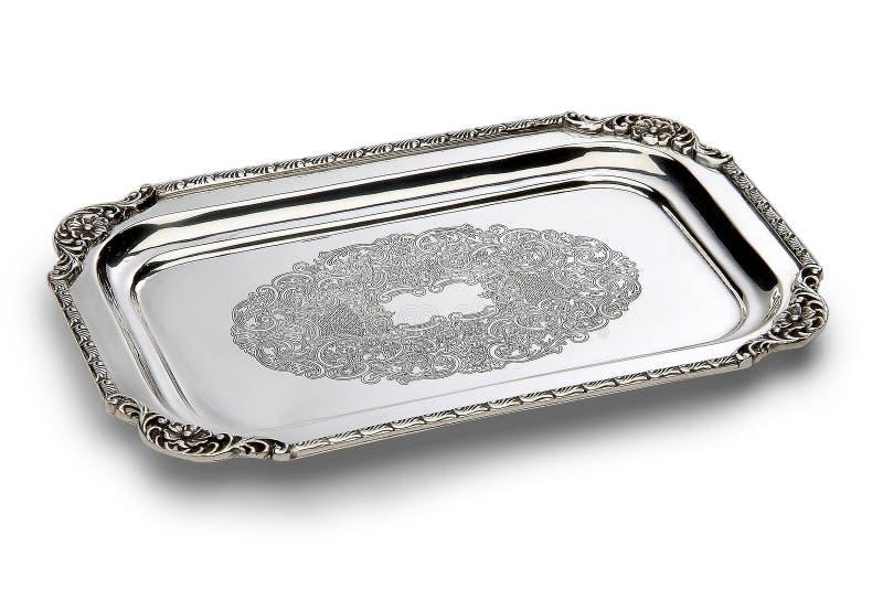 Vassoio rettangolare cesellato di piatto d'argento fotografie stock libere da diritti